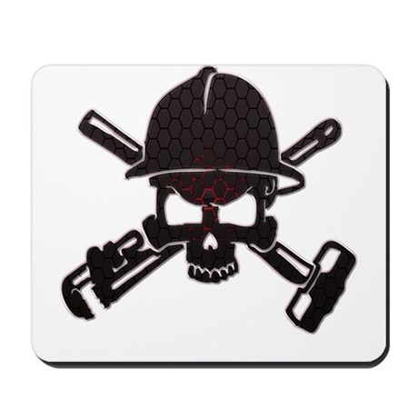 Red and Black Honeycomb Oilfield Skull Mousepad