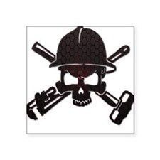 Red and Black Honeycomb Oilfield Skull Sticker