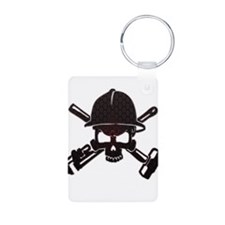 Red and Black Honeycomb Oilfield Skull Keychains