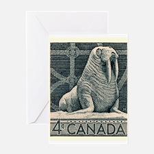 Vintage 1954 Canada Walrus Postage Stamp Greeting
