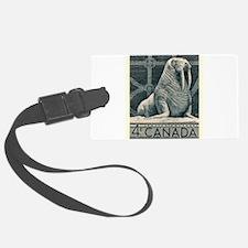 Vintage 1954 Canada Walrus Postage Stamp Luggage T