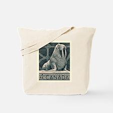 Vintage 1954 Canada Walrus Postage Stamp Tote Bag