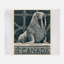 Vintage 1954 Canada Walrus Postage Stamp Throw Bla