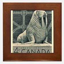 Vintage 1954 Canada Walrus Postage Stamp Framed Ti