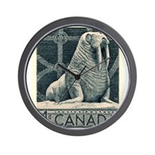 Vintage 1954 Canada Walrus Postage Stamp Wall Cloc