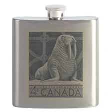 Vintage 1954 Canada Walrus Postage Stamp Flask
