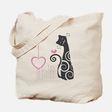 Happy Cat with Love Birds Tote Bag