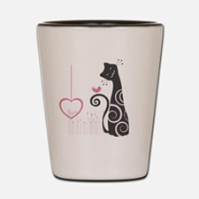 Happy Cat with Love Birds Shot Glass
