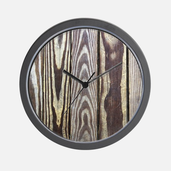 Wooden Patio Deck Photo Texture Wall Clock