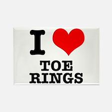 I Heart (Love) Toe Rings Rectangle Magnet
