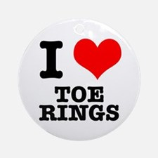I Heart (Love) Toe Rings Ornament (Round)