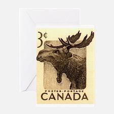 Vintage 1953 Canada Moose Postage Stamp Greeting C