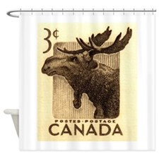 Vintage 1953 Canada Moose Postage Stamp Shower Cur