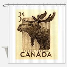 Vintage 1953 Canada Moose Postage Stamp Shower Cur