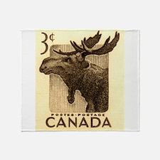 Vintage 1953 Canada Moose Postage Stamp Throw Blan