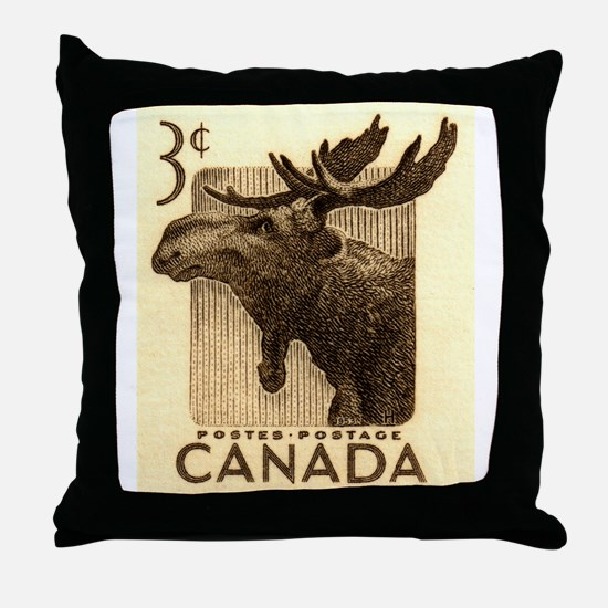 Vintage 1953 Canada Moose Postage Stamp Throw Pill