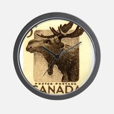 Vintage 1953 Canada Moose Postage Stamp Wall Clock
