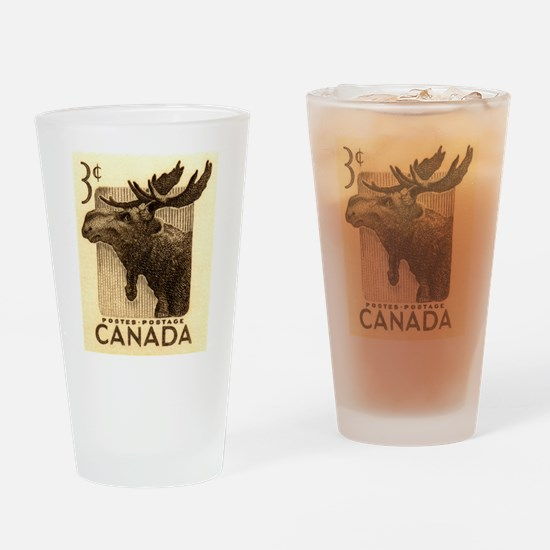 Vintage 1953 Canada Moose Postage Stamp Drinking G