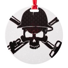 Red and Black Honeycomb Oilfield Skull Ornament
