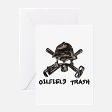 Riveted Metal Oilfield Trash Skull Greeting Cards