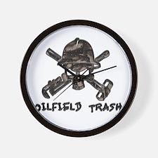 Riveted Metal Oilfield Trash Skull Wall Clock