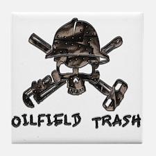 Riveted Metal Oilfield Trash Skull Tile Coaster