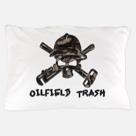 Riveted Metal Oilfield Trash Skull Pillow Case