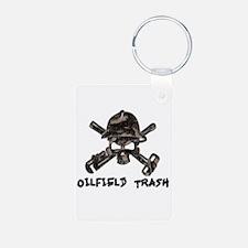Riveted Metal Oilfield Trash Skull Keychains