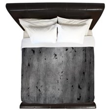 Gray Abstract Birch Tree Wooden Texture King Duvet
