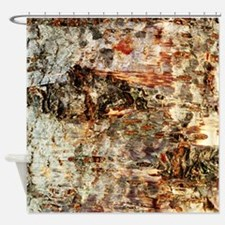 Rustic Old Birch Tree Wooden Texture Shower Curtai