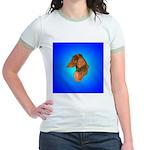Long Coated Dachshund Profile Jr. Ringer T-Shirt