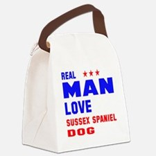 Real Man Love Sussex Spaniel Dog Canvas Lunch Bag