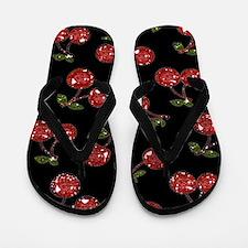Very Cherry Cherries On Black Flip Flops