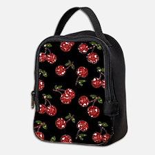 Very Cherry Cherries On Black Neoprene Lunch Bag