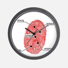 FingerprintBlackFinal Wall Clock