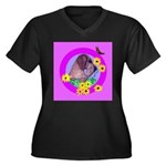 Mini Wirehaired Dachshund Women's Plus Size V-Neck