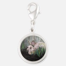 Bunny Rabbit in the Grass Silver Round Charm