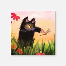 """Catzilla With Dragonfly Square Sticker 3"""" x 3"""""""