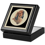 Longhaired Dachshund head stu Keepsake Box