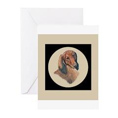 Longhaired Dachshund head stu Greeting Cards (Pack
