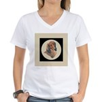 Longhaired Dachshund head stu Women's V-Neck T-Shi