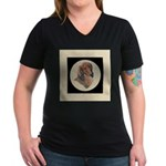 Longhaired Dachshund head stu Women's V-Neck Dark