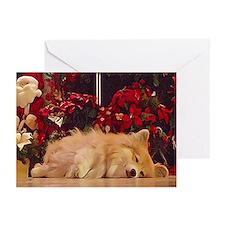 Sleepy Christmas Corgi Greeting Cards