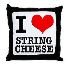 I Heart (Love) String Cheese Throw Pillow