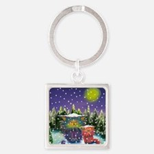 2 Cranky Cats In Snowstorm Square Keychain