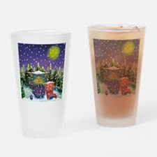 2 Cranky Cats In Snowstorm Drinking Glass