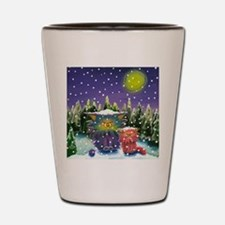 2 Cranky Cats In Snowstorm Shot Glass