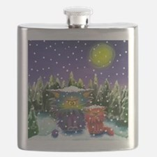 2 Cranky Cats In Snowstorm Flask