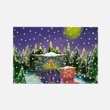 2 Cranky Cats In Snowstorm Rectangle Magnet