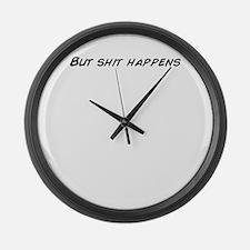Cute Shit happens Large Wall Clock